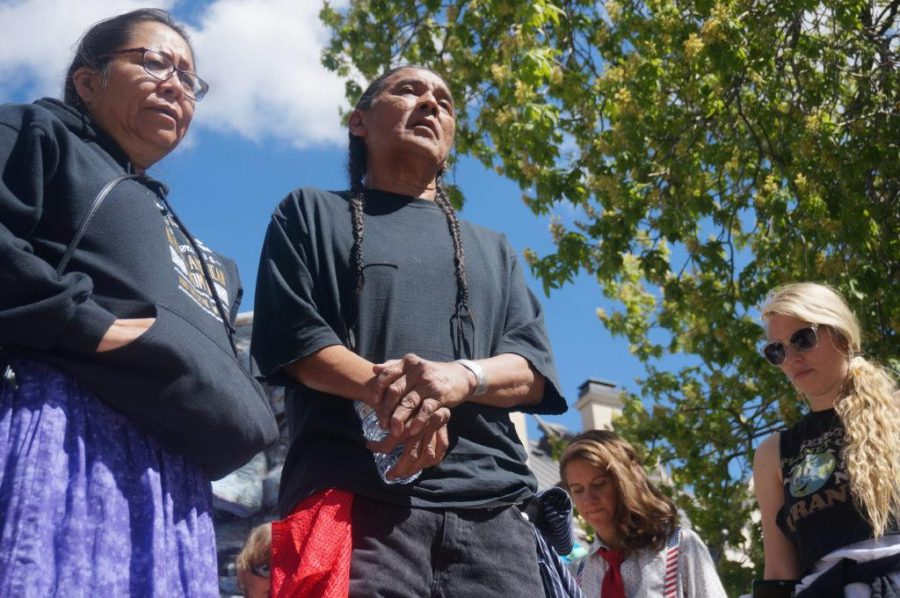 Navajo activists lead a prayer at the end of The Utah People's Climate March in front of the Governor's Mansion in Salt Lake City, Utah on Saturday, Apr. 29, 2017. (Photo by Rishi Deka | Daily Utah Chronicle)