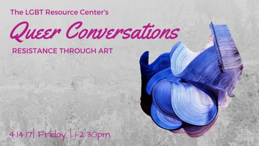 Poster for Queer Conversations: Resistance Through Art. Poster made by the LGBT Resource Center.