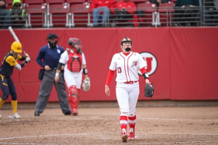 Starting pitcher Junior Katie Donovan (13) struggling through the top of the 5th inning at Dumke Family Softball Stadium Apr. 7, 2017. Adam Fondren For the Daily Utah Chronicle.