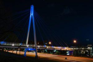 Legacy Bridge Lit Blue for Autism Awareness