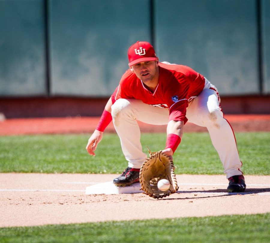 Senior Hunter Simmons (9)  cathches the ball well ahead of the runner during University of Utah Baseball game against Washington State at Smiths Ballpark, Salt Lake City, UT, 4/29/17.Photo by Adam Fondren/Daily Utah Chronicle
