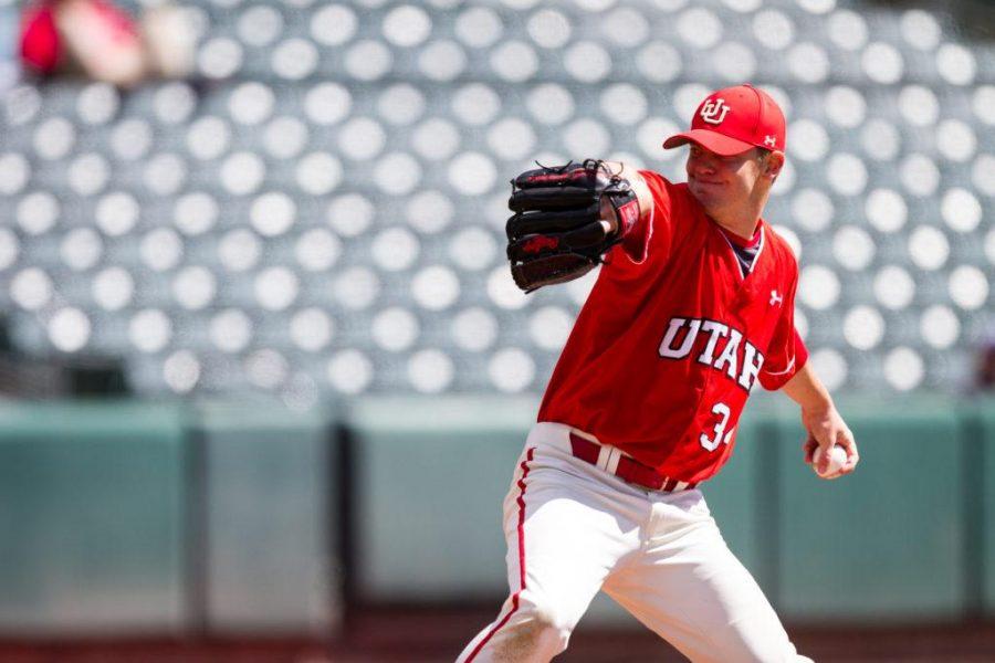 Junior Josh Lapiana (34) the starting pitcher for the University of Utah Baseball game against Washington State at Smith's Ballpark, Salt Lake City, UT, 4/29/17.  Photo by Adam Fondren/Daily Utah Chronicle