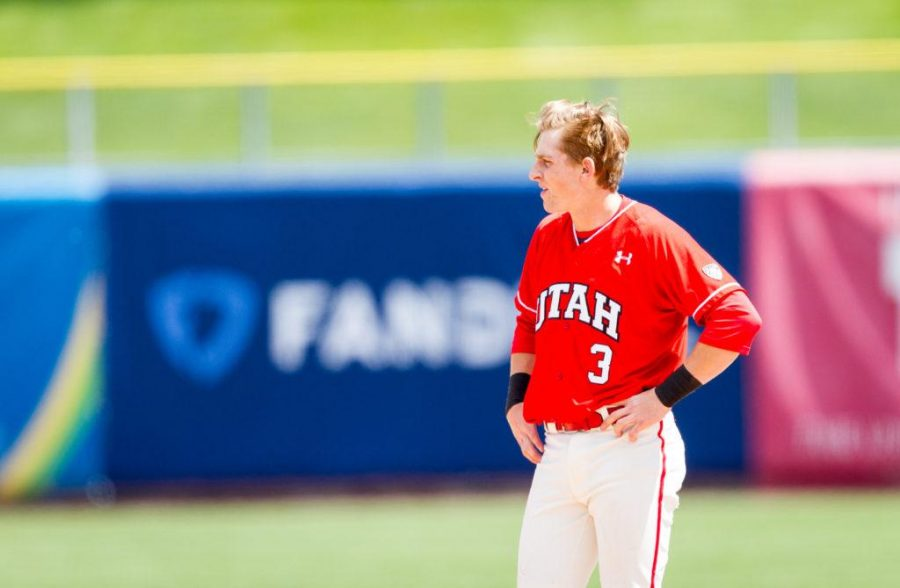 Freshman Oliver Dunn (3) Waits for his defensive gear after an inning ending out at second base during University of Utah Baseball game against Washington State at Smiths Ballpark, Salt Lake City, UT, 4/29/17.Photo by Adam Fondren/Daily Utah Chronicle