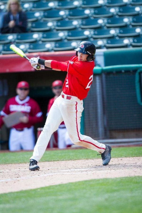 Sophmore Dashawn Keisey Jr. (21) during the University of Utah Baseball game against Washington State at Smiths Ballpark, Salt Lake City, UT, 4/29/17.Photo by Adam Fondren/Daily Utah Chronicle