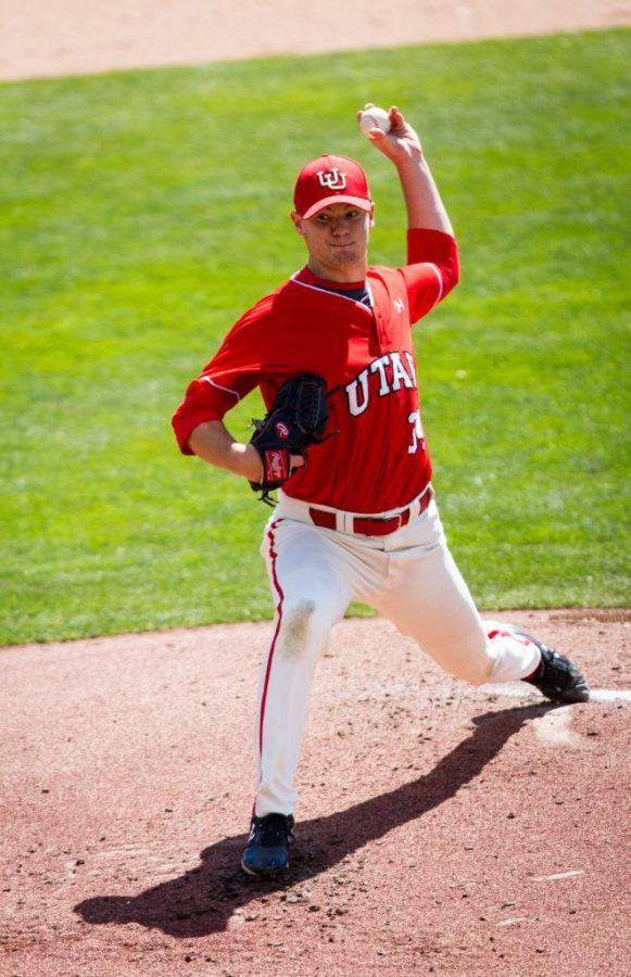Junior Josh Lapiana (34) the starting pitcher for the University of Utah Baseball game against Washington State at Smiths Ballpark, Salt Lake City, UT, 4/29/17.Photo by Adam Fondren/Daily Utah Chronicle