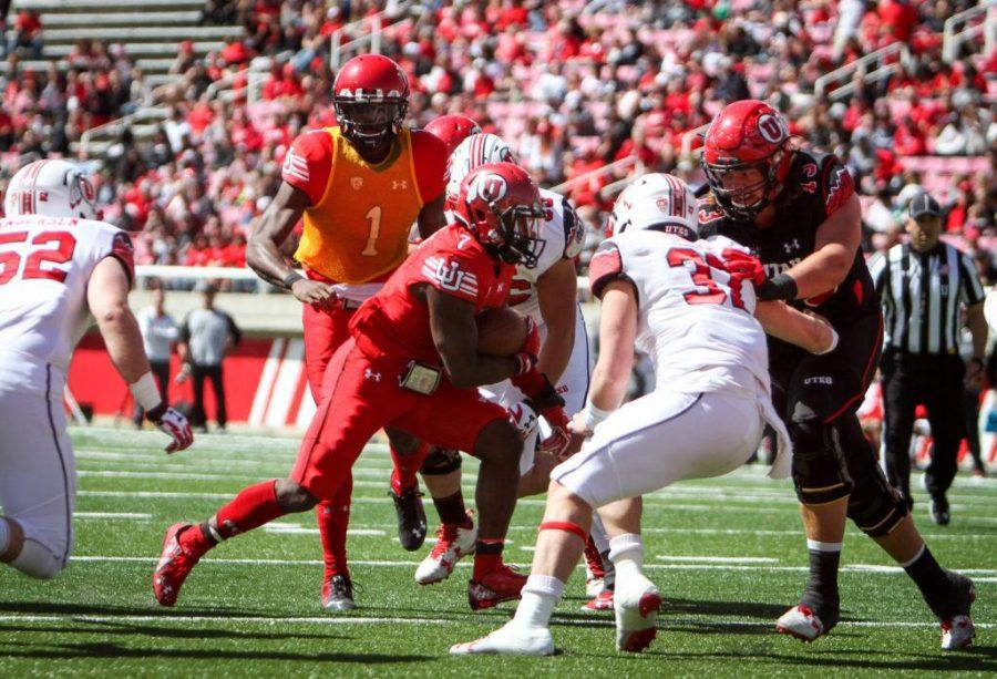 Sophmore Devontae Henry-Cole (7) runs downhill at the University of Utahs Red and White football game on Apr. 15, 2017 at Rice Eccles Stadium, Salt Lake City, UTPhoto by Adam Fondren/Daily Utah Chronicle