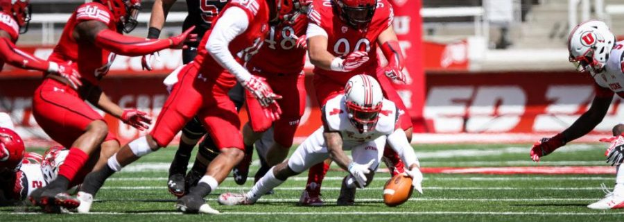Senior Troy McCormick Jr. (4) recovers a fumble at the University of Utahs Red and White football game on Apr. 15, 2017 at Rice Eccles Stadium, Salt Lake City, UT  Photo by Adam Fondren/Daily Utah Chronicle