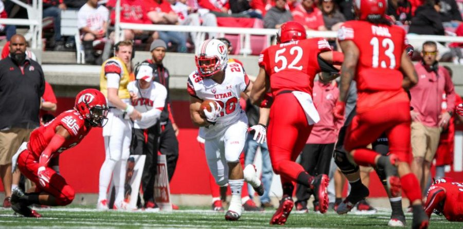 Sophmore Ju8stin Tatola (28) gets a defenseive takeaway during the University of Utahs Red and White football game on Apr. 15, 2017 at Rice Eccles Stadium, Salt Lake City, UTPhoto by Adam Fondren/Daily Utah Chronicle