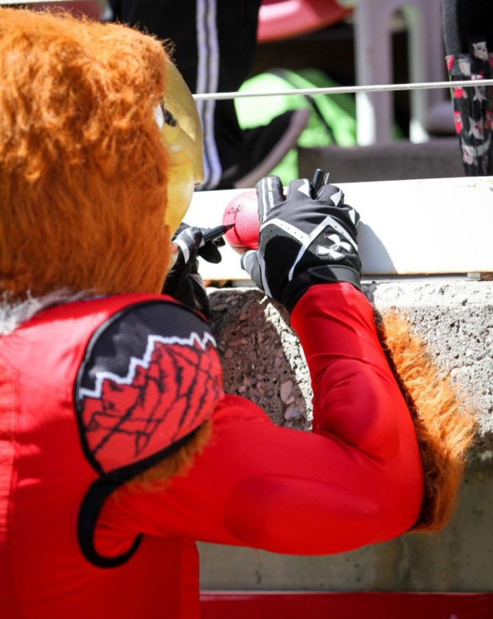 Swoop sighning autographs during the University of Utahs Red and White football game on Apr. 15, 2017 at Rice Eccles Stadium, Salt Lake City, UTPhoto by Adam Fondren/Daily Utah Chronicle