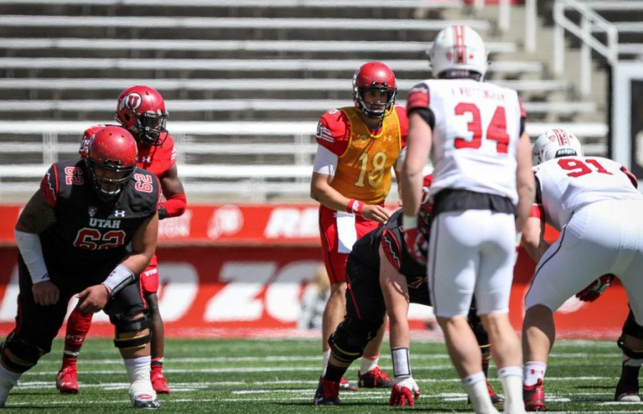 Senior Cooper Bateman (18) directing the Red offense during the University of Utahs Red and White football game on Apr. 15, 2017 at Rice Eccles Stadium, Salt Lake City, UTPhoto by Adam Fondren/Daily Utah Chronicle