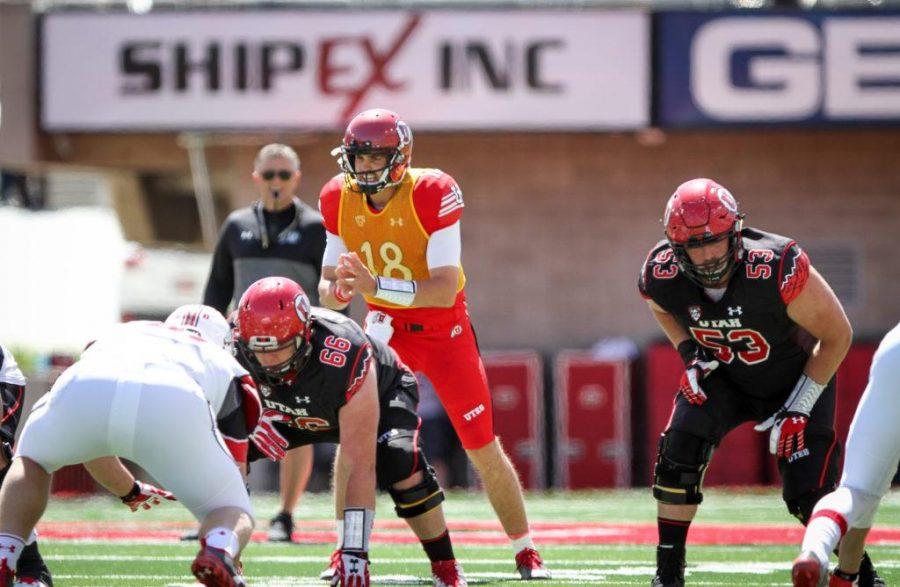 Senior Cooper Bateman (18) directs the Red offense during the University of Utahs Red and White football game on Apr. 15, 2017 at Rice Eccles Stadium, Salt Lake City, UTPhoto by Adam Fondren/Daily Utah Chronicle