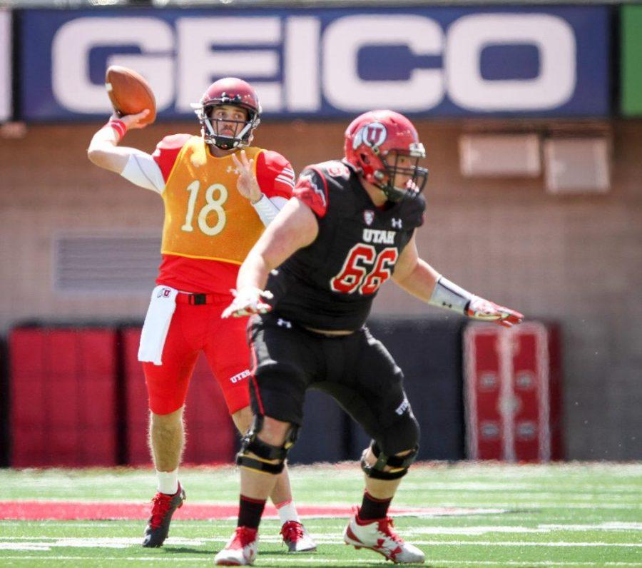 Senior Cooper Bateman (18) throws a touchdown pass at the University of Utahs Red and White football game on Apr. 15, 2017 at Rice Eccles Stadium, Salt Lake City, UTPhoto by Adam Fondren/Daily Utah Chronicle