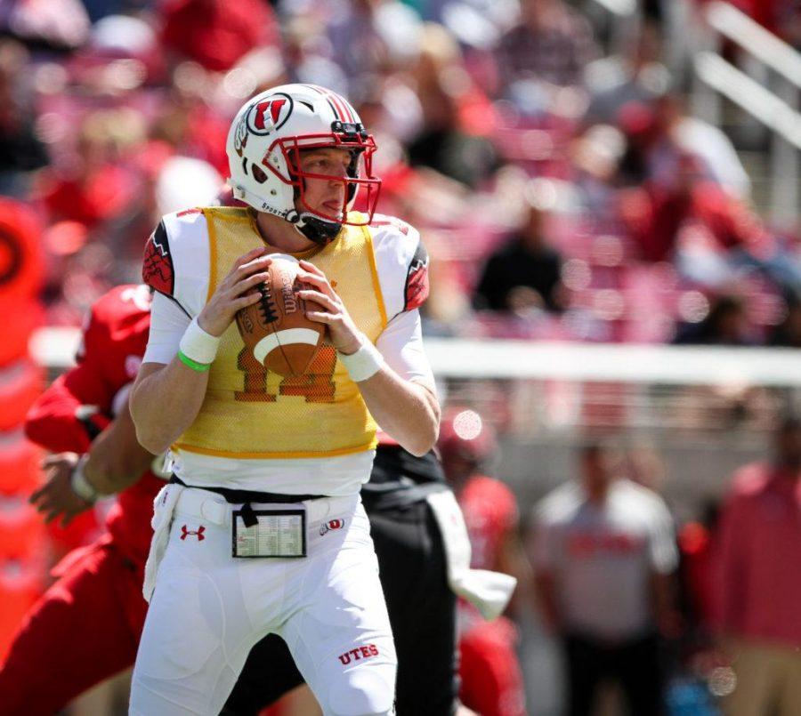Freshman Drew Lisk (14) in action at the University of Utahs Red and White football game on Apr. 15, 2017 at Rice Eccles Stadium, Salt Lake City, UTPhoto by Adam Fondren/Daily Utah Chronicle