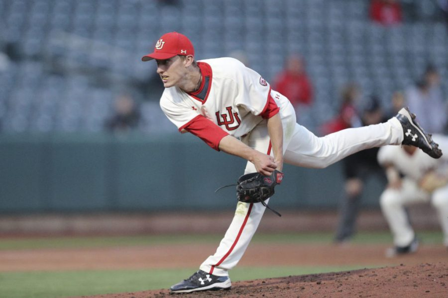 Utah Utes pitcher Tanner Thomas (19) pitching against BYU  at Smiths Ballpark on Tuesday, March 28, 2017. (Chris Ayers|Daily Utah Chronicle.)