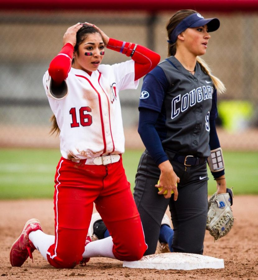 University of Utah Womens Softball Team freshman outfielder Alyssa Barrera (16) reacts after being called safe at 2nd  in an NCAA Regional Game vs. The Brigham Young University Cougars at Dumke Family Softball Stadium, Salt Lake City, UT on Friday, May 19, 2017(Photo by Adam Fondren | Daily Utah Chronicle)