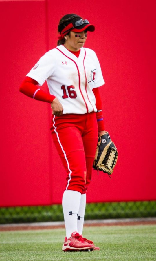 University of Utah Womens Softball Team freshman outfielder Alyssa Barrera (16) stands in right field uniform all dirty after her slide in 2nd earlier in the inning in an NCAA Regional Game vs. The Brigham Young University Cougars at Dumke Family Softball Stadium, Salt Lake City, UT on Friday, May 19, 2017(Photo by Adam Fondren | Daily Utah Chronicle)