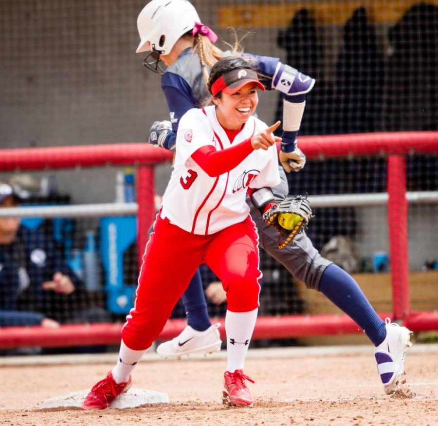 University of Utah Womens Softball Team senior first baseman Bridget Castro (3) reacts after a great throw from 3rd to get the runner out in an NCAA Regional Game vs. The Brigham Young University Cougars at Dumke Family Softball Stadium, Salt Lake City, UT on Friday, May 19, 2017(Photo by Adam Fondren | Daily Utah Chronicle)