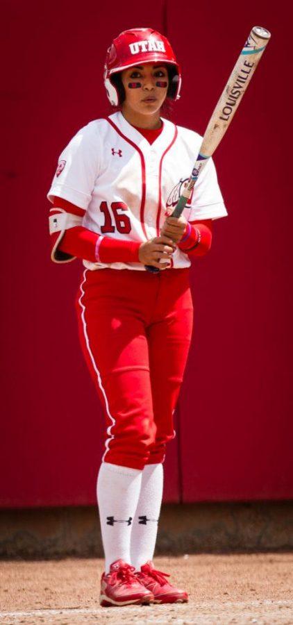 University of Utah Womens Softball Team freshman outfielder Alyssa Barrera (16) awaits her turn to bat in an NCAA Regional Game vs. The Brigham Young University Cougars at Dumke Family Softball Stadium, Salt Lake City, UT on Friday, May 19, 2017  (Photo by Adam Fondren   Daily Utah Chronicle)