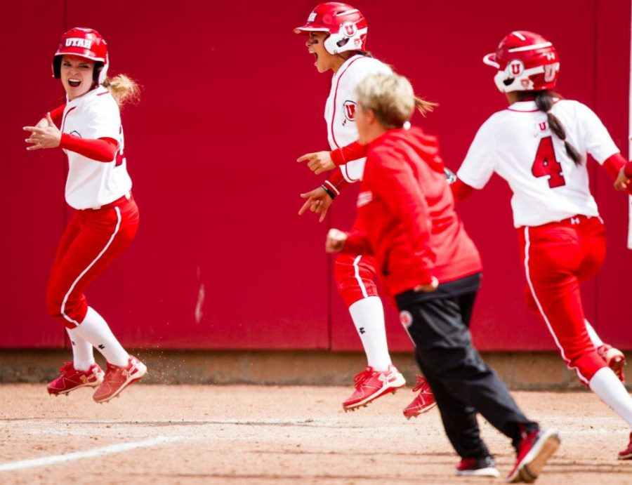 The University of Utah Womens Softball Team reacts to winning the game in the bottom of the 7th in an NCAA Regional Game vs. The Brigham Young University Cougars at Dumke Family Softball Stadium, Salt Lake City, UT on Friday, May 19, 2017  (Photo by Adam Fondren   Daily Utah Chronicle)