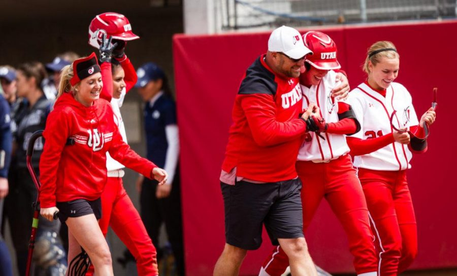 University of Utah Womens Softball Team sophomore pitcher/utility Hailey Hilburn (30) is congratulated for her game winning hit in the bottom of the 7th in an NCAA Regional Game vs. The Brigham Young University Cougars at Dumke Family Softball Stadium, Salt Lake City, UT on Friday, May 19, 2017  (Photo by Adam Fondren   Daily Utah Chronicle)