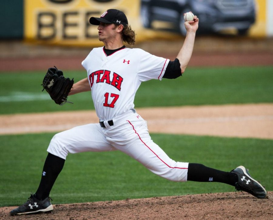 University of Utah Baseballs senior left-handed pitcher Dylan Drachler (17) comes into to close out the game at the end of a PAC 12 Game vs. The Arizona State Sun Devils at The Salt Lake Bees Stadium, Salt Lake City, UT on Friday, May 26, 2017(Photo by Adam Fondren   Daily Utah Chronicle)