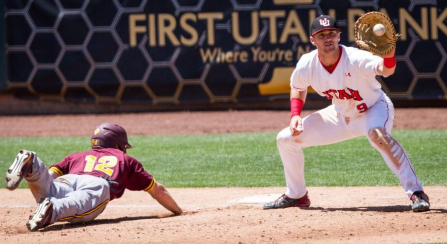 University of Utah Baseballs senior infielder Hunter Simmons (9) receives the ball from the pitcher as Arizona States sophomore outfielder Gage Canning (12) slices back into 1st base in an PAC 12 Game vs. The Arizona State Sun Devils at The Salt Lake Bees Stadium, Salt Lake City, UT on Saturday, May 27, 2017(Photo by Adam Fondren   Daily Utah Chronicle)