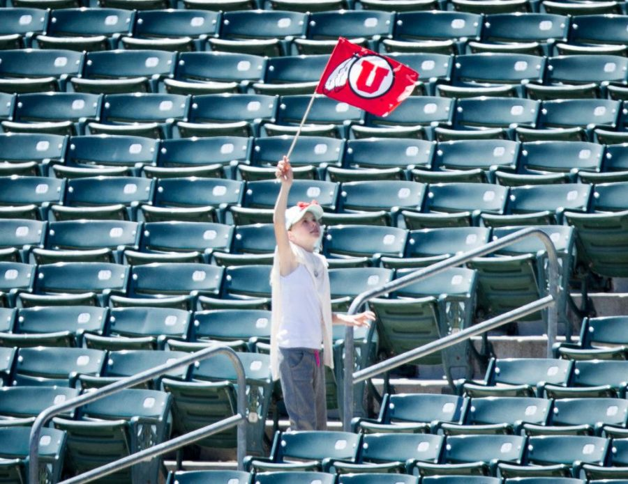 A lone flag waving fan in an PAC 12 Game vs. The Arizona State Sun Devils at The Salt Lake Bees Stadium, Salt Lake City, UT on Saturday, May 27, 2017(Photo by Adam Fondren   Daily Utah Chronicle)