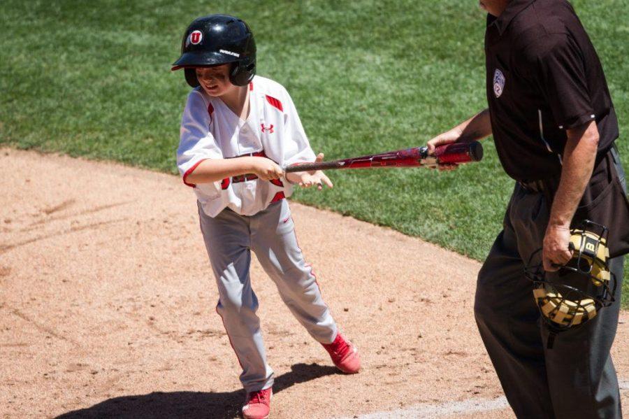 University of Utah Baseballs batboy Graden Miller (4) retrieves the bat from the umpire in an PAC 12 Game vs. The Arizona State Sun Devils at The Salt Lake Bees Stadium, Salt Lake City, UT on Saturday, May 27, 2017(Photo by Adam Fondren   Daily Utah Chronicle)