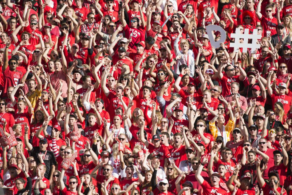 Utah Football fans in the MUSS student section cheer for the defense during the game vs. the Washington Huskies at Rice-Eccles Stadium on Saturday, October 29, 2016