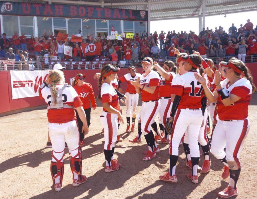 The University of Utah Women's Softball Team celebrates victory in an NCAA Regional Title Game vs. The BYU Cougars at Dumke Family Softball Stadium, Salt Lake City, UT on Saturday,May 20, 2017  (Photo by Rishi Deka | Daily Utah Chronicle)
