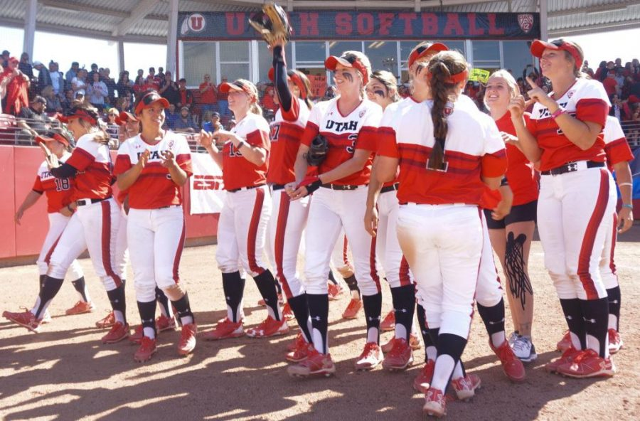 The University of Utah Women's Softball Team celebrates victory in an NCAA Regional Title Game vs. The BYU Cougars at Dumke Family Softball Stadium, Salt Lake City, UT on Saturday, May20, 2017  (Photo by Rishi Deka | Daily Utah Chronicle)