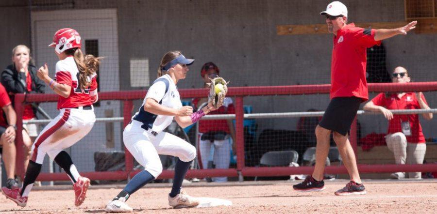 University of Utah Women's Softball Team outfielder Alyssa Barrera is safe past first base in an NCAA Regional Title Game vs. The BYU Cougars at Dumke Family Softball Stadium, Salt Lake City, UT on Saturday, May 20, 2017  (Photo by Rishi Deka | Daily Utah Chronicle)