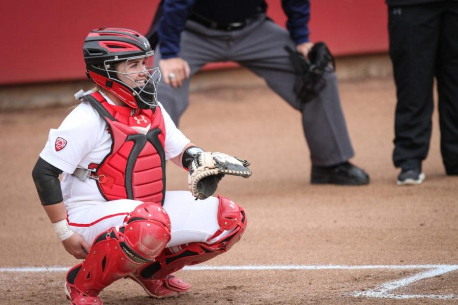Freshman Kelly Martinez (22) catching the game at Dumke Family Softball Stadium Apr. 7, 2017. Adam Fondren For the Daily Utah Chronicle.