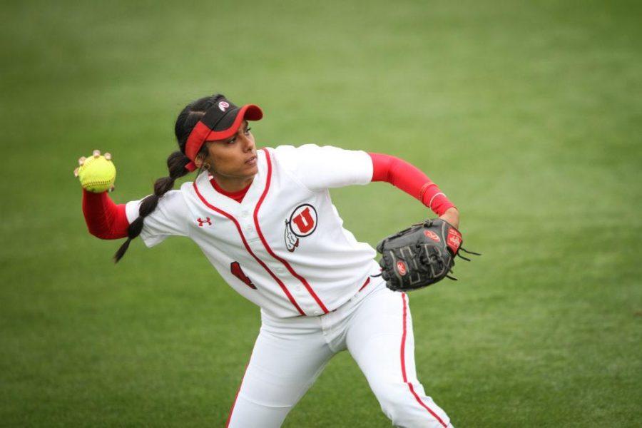 Senior Delilah Pacheco (4) throws the ball back infield in the top of the 3rd inning at Dumke Family Softball Stadium Apr. 7, 2017. Adam Fondren For the Daily Utah Chronicle.