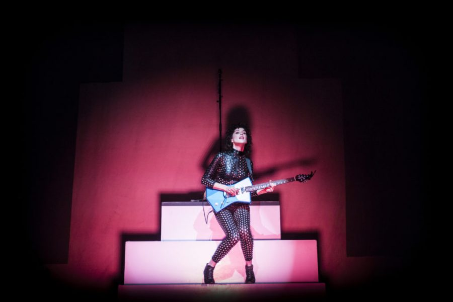 St. Vincent performing at Pioneer Park Thursday, August 27 2015.