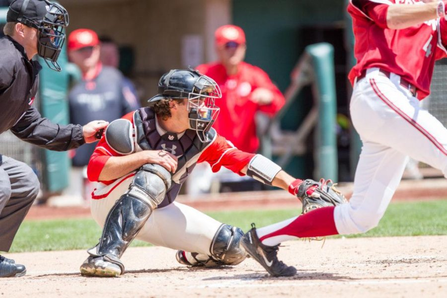 Sophmore Zack Moeller (28) catching during the University of Utah baseball game against Washington State at Smiths Ballpark, Salt Lake City, UT, 4/29/17.  Photo by Adam Fondren/Daily Utah Chronicle