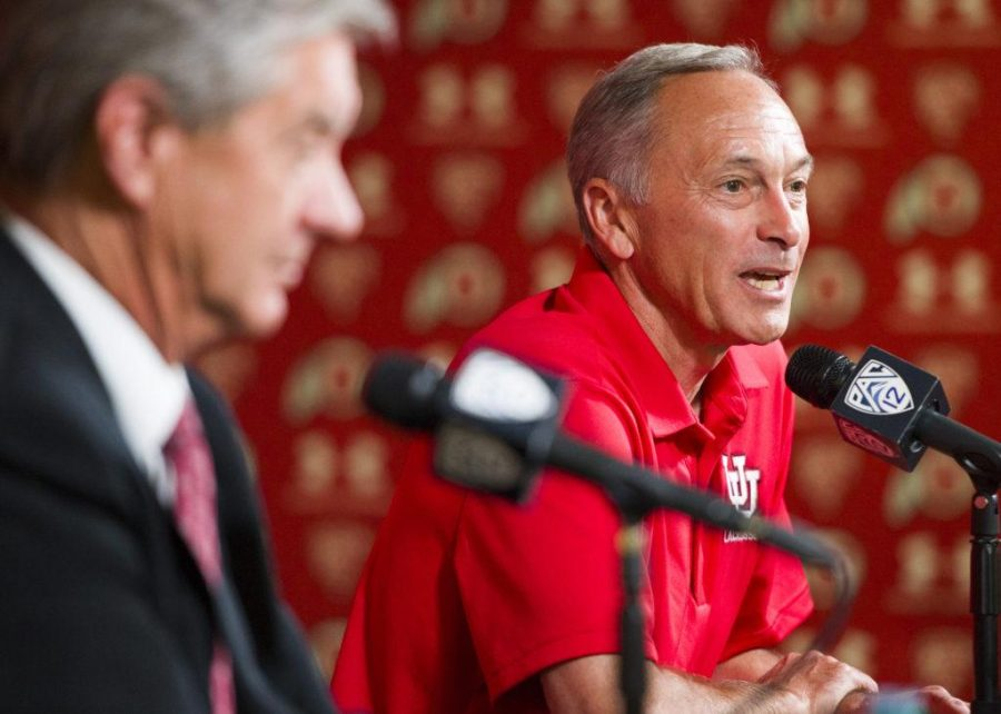 The University of Utah Men's Lacrosse program was added to the NCAA Division 1 sports circuit during a press conference with Utah Athletics Director Dr. Chris Hill (left) and Utah Lacrosse head coach Brian Holman (right) at the Spence and Cleone Eccles Football Center on Friday, June 16, 2017  (Photo by Kiffer Creveling | The Daily Utah Chronicle)