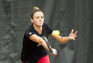 University of Utah Women's Tennis sophomore Taylor Calton plays in a match agains the Weber State Wildcats at the George S. Eccles Tennis Center at the University of Utah on Sunday, March 26, 2017