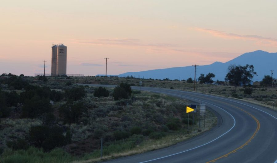 U.S. Route 191 running north through White Mesa, Utah.