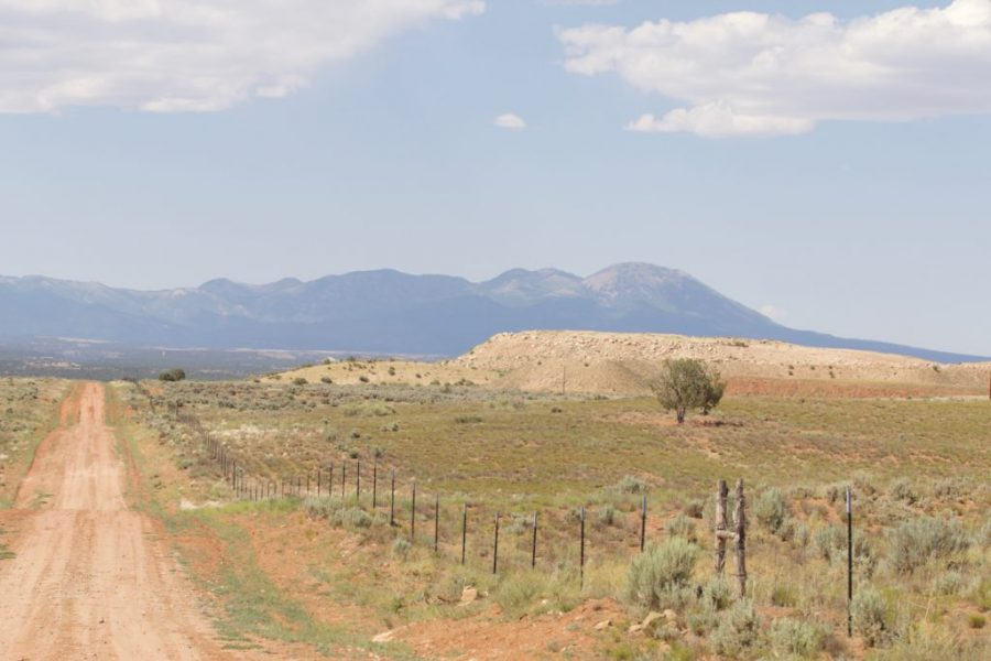 A dirt road facing north, just south of the White Mesa uranium mill.