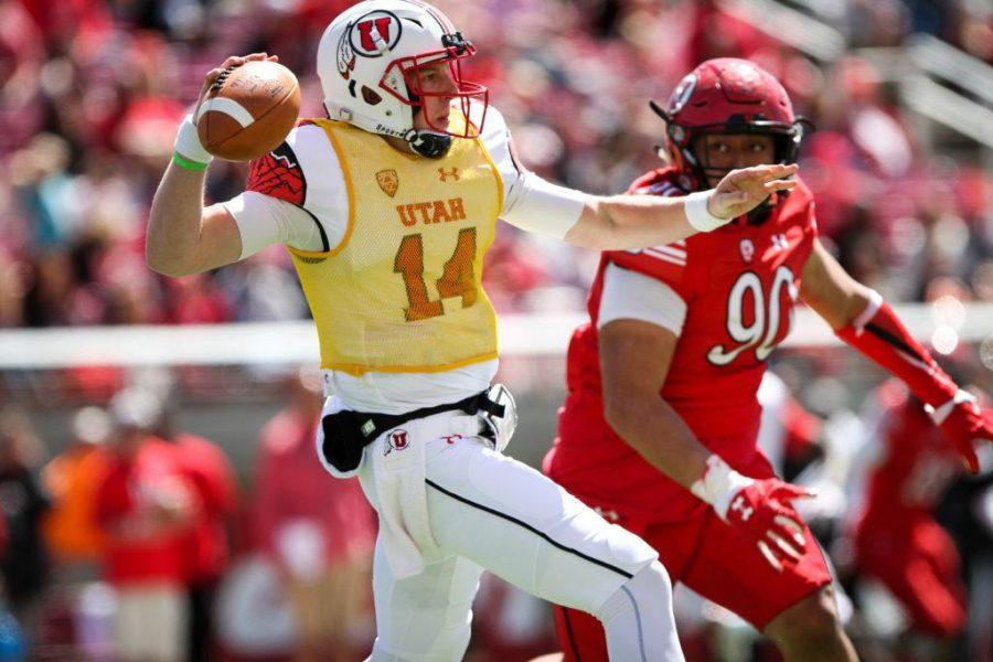 Freshman Drew Lisk (14) in action at the University of Utahs Red and White football game on Apr. 15, 2017 at Rice Eccles Stadium, Salt Lake City, UT  Photo by Adam Fondren/Daily Utah Chronicle