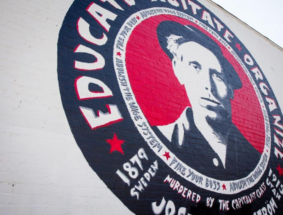 Joe Hill Mural on Ken Sanders Book Store, Salt Lake City, UT on Tuesday, Aug. 29, 2017  (Photo by Adam Fondren | Daily Utah Chronicle)