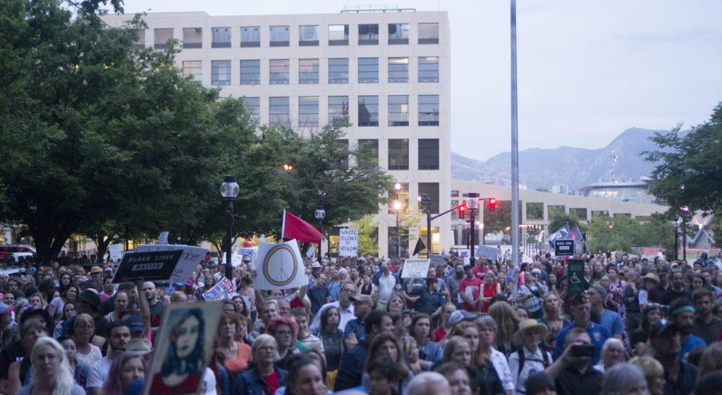 The crowd shouts during the Solidarity Rally against racism at Washington Square Park in Salt Lake City, Utah on Monday, Aug. 14, 2017. (Rishi Deka | Daily Utah Chronicle)