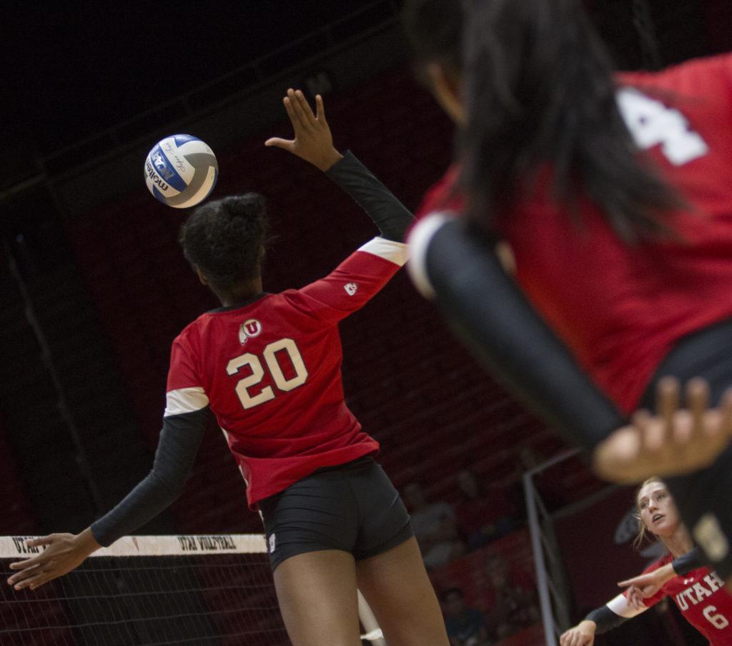 Tawnee Luafalemana (20) hits the ball during the Utah Women's Volleyball Red vs. White Scrimmage at the U Hunstman Center in Salt Lake City, Utah on Saturday, Aug. 19, 2017. (Dr. Rishi Deka  | Daily Utah Chronicle)