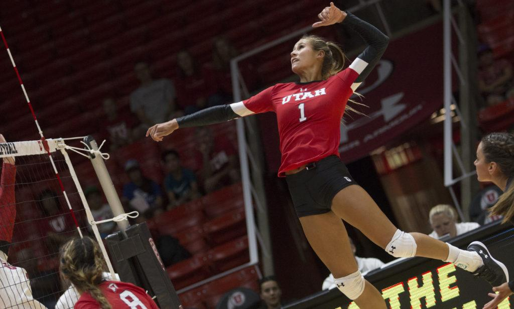 Dani Barton (1) jumps in an attempt to hit the ball during the Utah Women's Volleyball Red vs. White Scrimmage at the U Hunstman Center in Salt Lake City, Utah on Saturday, Aug. 19, 2017. (Dr. Rishi Deka  | Daily Utah Chronicle)