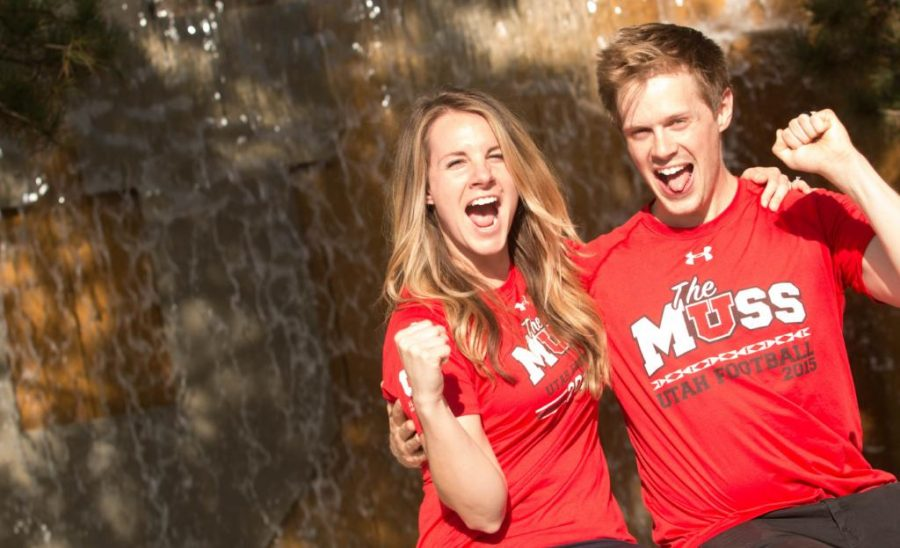 Ashley and Spencer Buhler shout outside the U fountain near the Marriott Library on Wednesday, Aug. 23, 2017. (Dr. Rishi Deka | Daily Utah Chronicle)