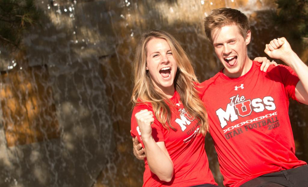 Ashley and Spencer Buhler shout outside the U fountain near the Marriott Library on Wednesday, Aug. 23, 2017. (Dr. Rishi Deka   Daily Utah Chronicle)