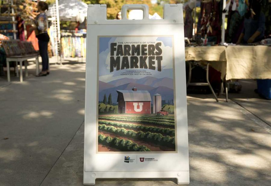 A sign showing the U farmers market Students pass at Tanner Plaza.