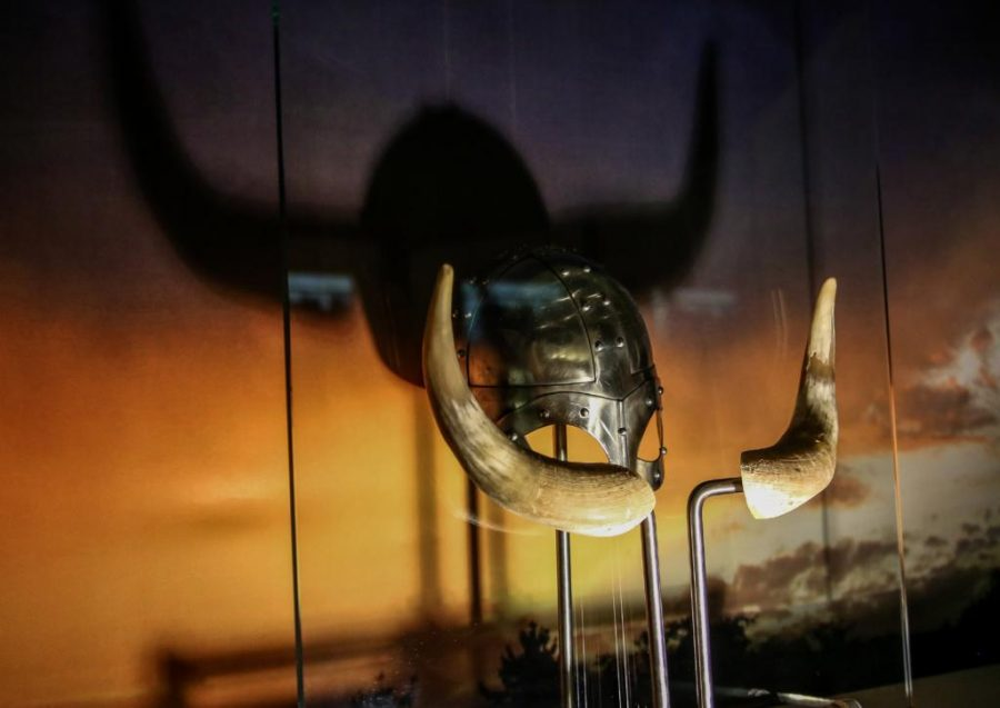 Horned helmets have become popular symbols of of the Viking age, despite being historically inaccurate show in the new exhibition at the Naturals History Museum in Salt Lake City, UT on Tuesday, September 12, 2017.  (Photo by Cassandra Palor/ Daily Utah Chronicle)