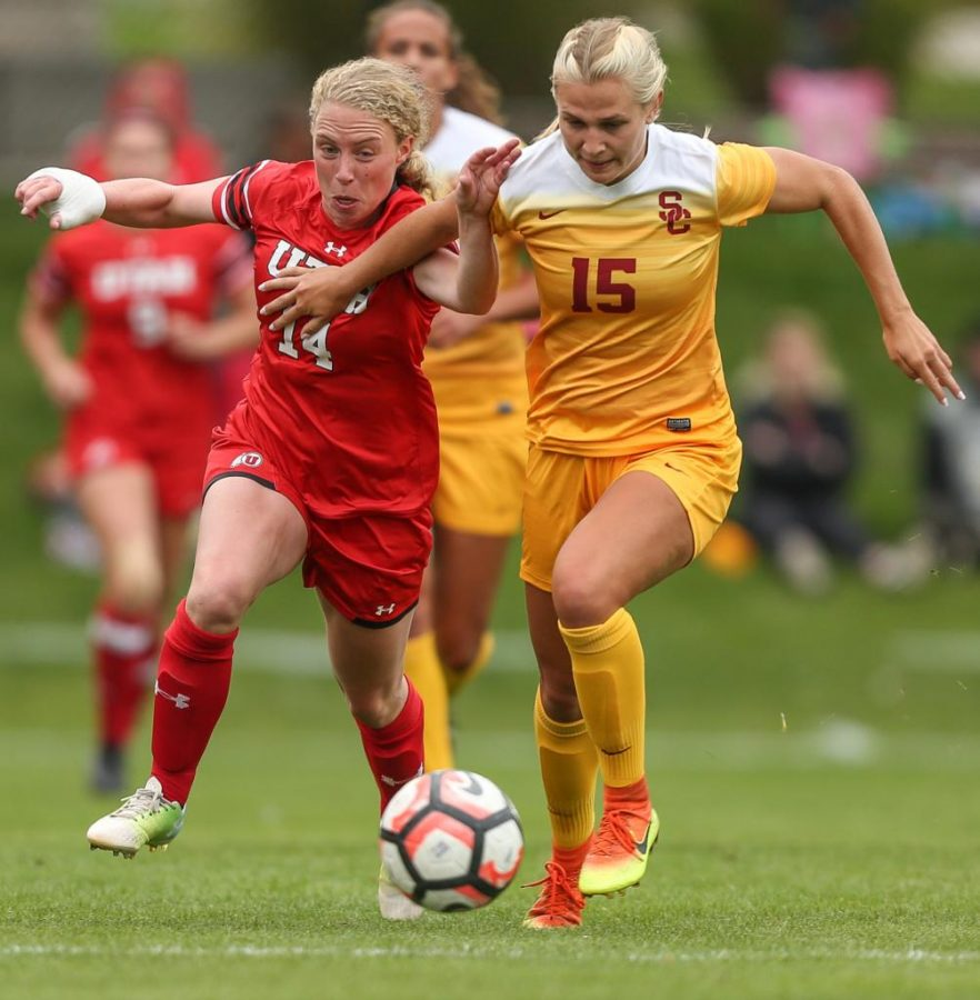 Paola Van Der Even (14) goes head to head against opponent Jalen Woodward (15) during the Utah Utes Womens soccer tie game versus University of Southern California at Ute Soccer Field in Salt Lake City, UT on Saturday, September 23, 2017.  (Photo by Cassandra Palor/ Daily Utah Chronicle)